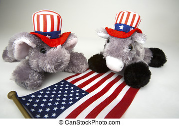 Elephant representing the Republican Party and Donkey...
