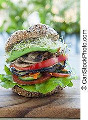 vegetariano, hamburguesa,