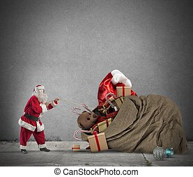 Gift bag of Santaclaus - Santaclaus pull a beautiful big...