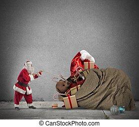 Gift bag of Santaclaus - Santaclaus pull a beautiful big...