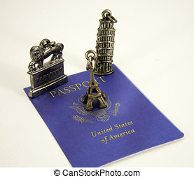 American passport with charms from European cities Paris,...