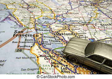 Model sedan on a map of the San Francisco California bay...