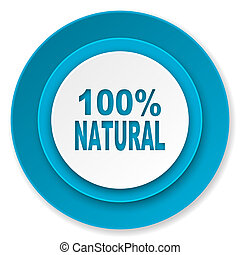 natural icon, 100 percent natural sign