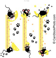 funny cats - Baby height measure with funny mice vector in...