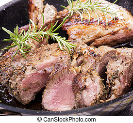 Roast Lamb - Rustic roast lamb with pan juices and rosemary