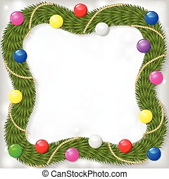 Christmas frame of fir branches garland decorated color balls an