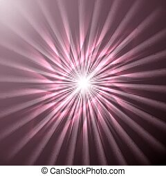 Bright space star in pink hues