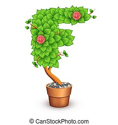 Isolated tree with flowers in clay pot. In the form of letter F
