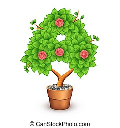 Isolated tree with flowers in clay pot. In the form of letter A