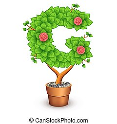 Isolated tree with flowers in clay pot. In the form of letter G