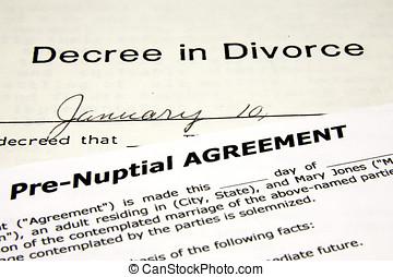 Pre-Nuptial, acuerdo, encima, Un, Divorcio, Decree.,