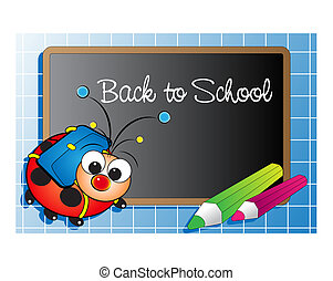 Back to school with ladybug and pencils