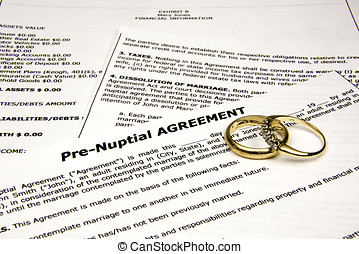 re-nuptial agreement with wedding bands.