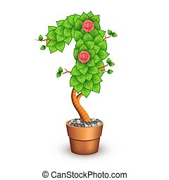 Isolated tree with flowers in clay pot. In the form of number 1