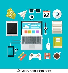Set of flat design concept icons for workspace
