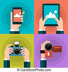 Set of hands holding smart phone, tablet, video and photo...