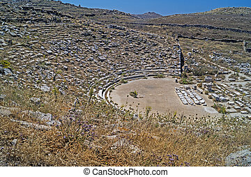 Ancient amphitheatre, Delos island, Greece