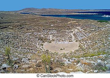 Ancient amphitheatre, Delos island, Greece