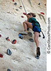 攀登, 女孩, 年輕, 岩石