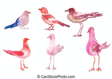 Watercolor birds set. The series of vector illustrations.