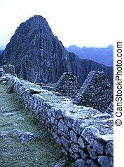 Machu Picchu- Peru - Incan ruined city of Machu Picchu at...