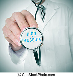 high blood pressure - doctor with a stethoscope with the...