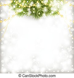 Christmas card with fir branch decorated gold beads garland...