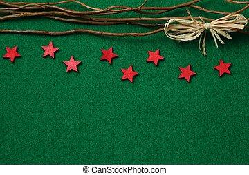 Stars on green felt background