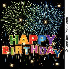 Vector of Happy Birthday design with fireworks and bokeh