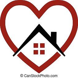 casa, y, corazón, vector, logotipo,