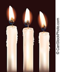 Three White Candles - Illustration of three lit white...