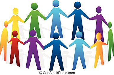 Teamwork people holding hands logo - Teamwork meeting people...