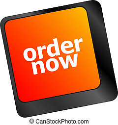 Order now computer key showing online purchases and shopping