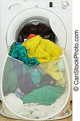 Laundy basket full of clothes - Laundry backet full of dirty...