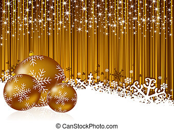 gold christmas background with snowflakes and christmas...