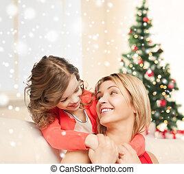 heureux, mère, et, fille, Étreindre, à,...