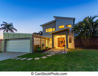 Modern home at dusk - Modern australian home front at dusk