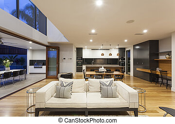 Big modern living room - Big modern home with kitchen,...