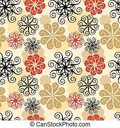 Spiral Flower Pattern in Beige