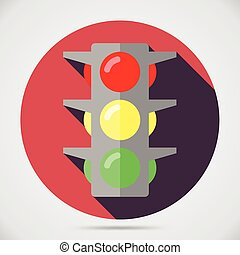 Traffic light vector icon - Flat style with long shadows,...