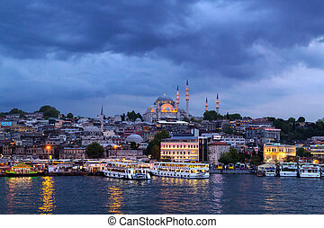 ottoman mosque in Istanbul sea night view, Turkey.