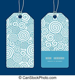 Vector abstract swirls vertical stripe frame pattern tags set