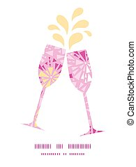 Vector pink abstract triangles toasting wine glasses...
