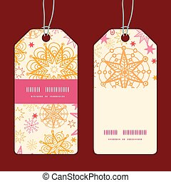 Vector warm stars vertical stripe frame pattern tags set