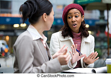 Business Meeting Discussion - Two business women having a...