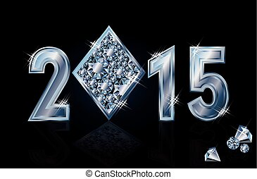 Happy 2015 New year brilliant poker diamonds