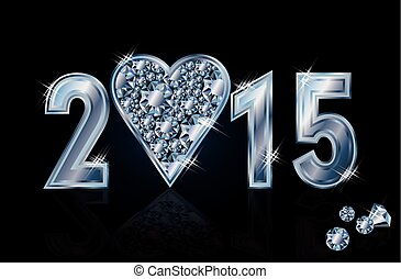 Happy 2015 New year heart poker - Happy 2015 New year...