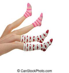 cuatro, piernas, colorido, calcetines