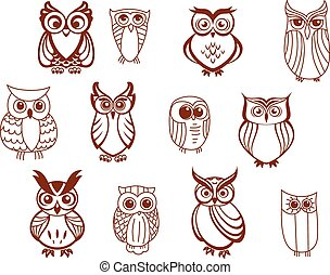 Set of vector owls - Set of line drawn cartoon vector owls...