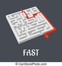 Labyrinth puzzle with a fast short solution shown by a red...